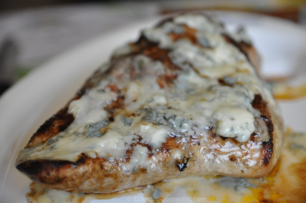 Buffalo grilled turkey breast with blue cheese