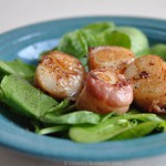ED spinach salad bacon scallops 150x150 Nori wrapped seared scallop sashimi