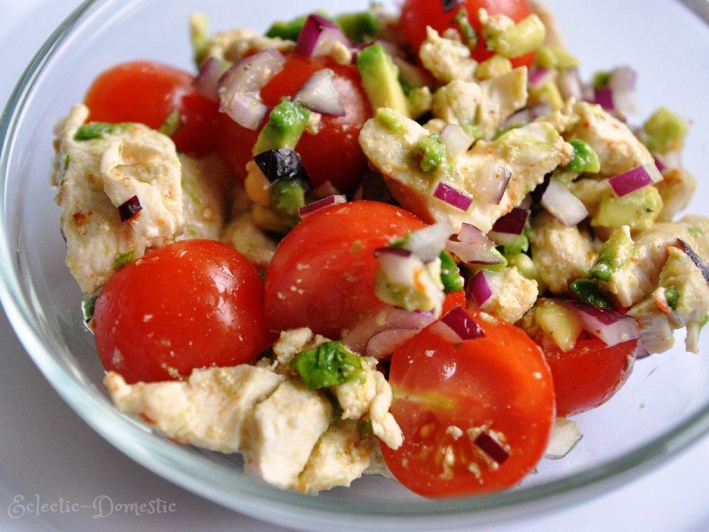Chicken, tomato, and avocado salad