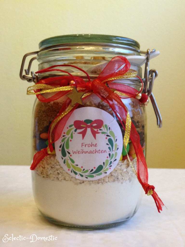m&m cookies in a jar, ready for gifting