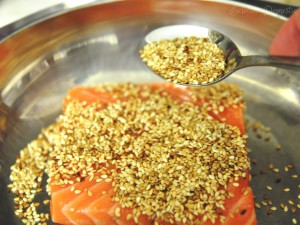 ED salmon 300x225 Sesame crusted seared salmon sashimi