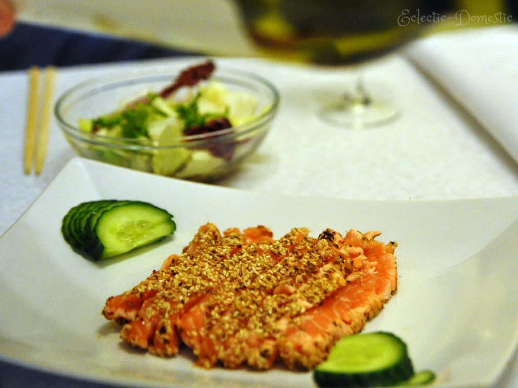 ED salmon plate1 Sesame crusted seared salmon sashimi